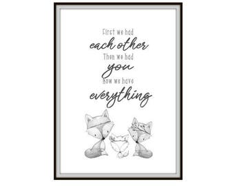 A4 Nursery Print, Monochrome, Neutral Gender, Woodland Animals, Birth, Fox, Family, Personalised Print, First We Had Each Other