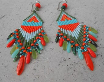 """Earrings woven """"Indiana"""" green and orange beads"""
