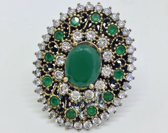 Green Sterling Silver Turkish  Ring