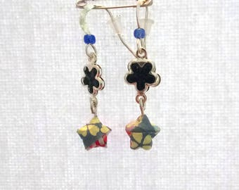 Origami, origami, Star and primer Flower Earrings jewelry