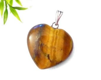 Silver plated - Tiger eye heart pendant