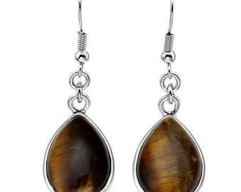 Earrings dangle drop silver plated - Tiger eye