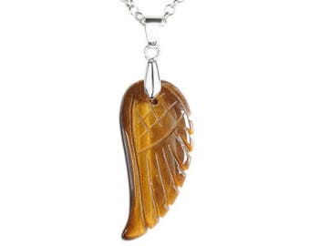 Pendant angel wing silver plated - Tiger eye