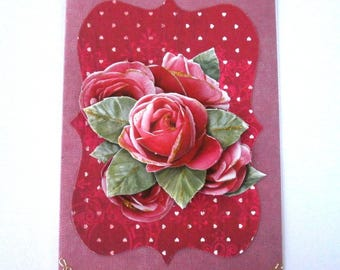69 - Pink roses 3D greeting card