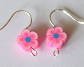 Pink polymer clay, a pair earring