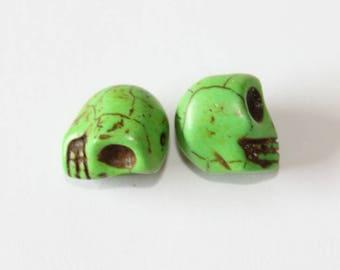 Skull, green, 12 mm, the pair