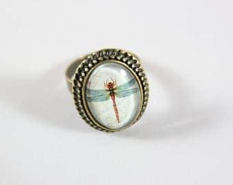 adjustable cabochon ring, dragonfly