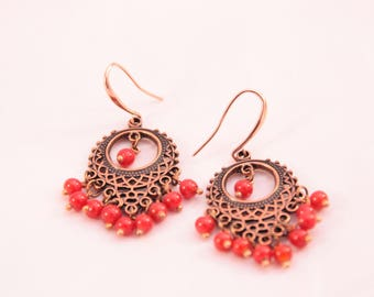 beautiful copper metal, about 55 mm, classic chic earrings!