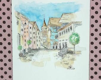 Original Watercolor Sketch