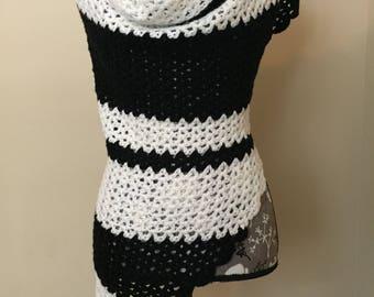 Black and White Handmade Crochet Triangle Shawl Evening Accessory
