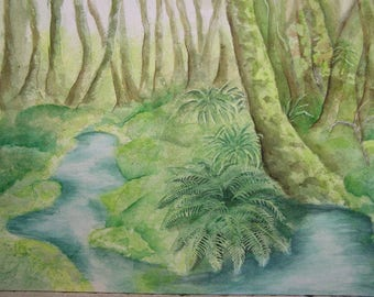 Forest green watercolor