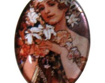 Cabochon transparent floral woman.