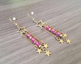Star Earrings Fuchsia Bicone