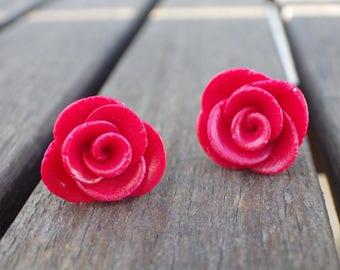 Small earrings (stud) earrings small red rose flower