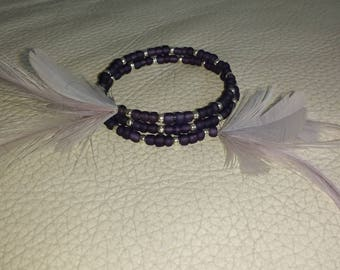 Bracelet or anklet in purple polished rock stone and grey feather jewelry