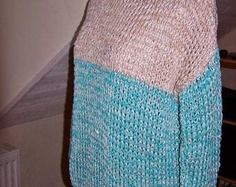 spring/summer sweater blue turquoiseet beige mesh