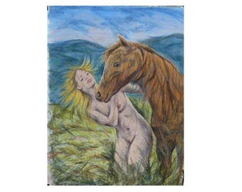 Art painting nude woman standing breasts gift idea for him or her naked man horse fan