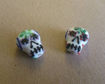 2 beads shape skull calavera skull Mexican glass