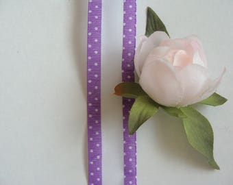 Purple white polka dots, 25 mm wide organza Ribbon meter