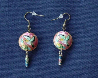 Bird of paradise background pink earrings