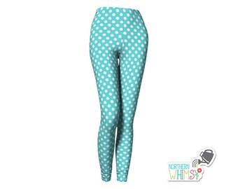 Polka Dot Leggings - Choose any color!  Aqua blue ladies' leggings - US womens's sizes XS, S, M, L, and XL