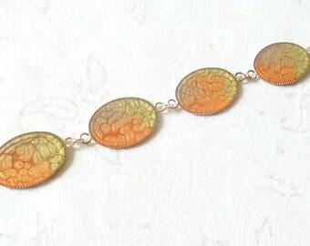 Bracelet 4 pastilles oval orange green golden brown, no. 7