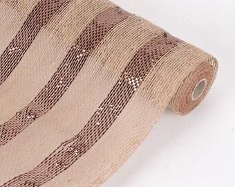 "21"" Wide x 6 Yards Long Natural Burlap Fabric (Table Runner, Ribbon, DIY Craft, Fabric, or Weddings) with Brown Metallic Stripe"