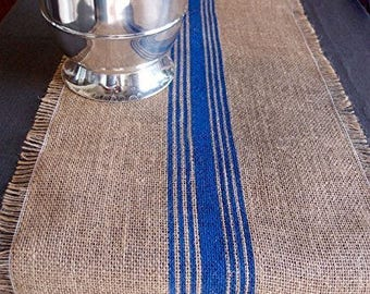 "12.5"" Inches X 108 Inches ROYAL BLUE Burlap Table Runner with Stripes"