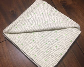 flannel baby blanket - green accent