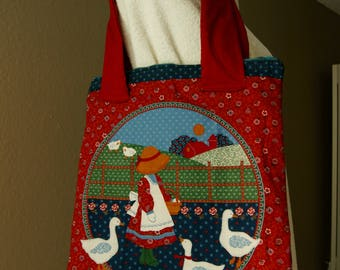 Farm girl quilted bag