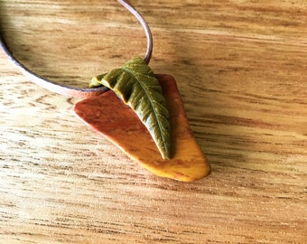 Petrified Wood and Polymer Clay Leaf Pendant Necklace