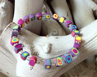 Bracelet multicolored adult polymer clay