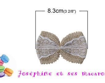 1 bow tie hemp and lace 8.3 x 5.8 cm