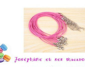 Pink 1 necklace 46 cm faux leather