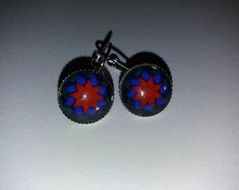 Earrings cabochon glass 16 mandala pattern