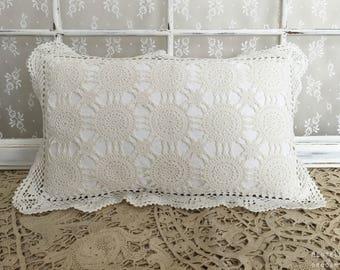 Romantic retro decorative pillow: linen and doily old vI