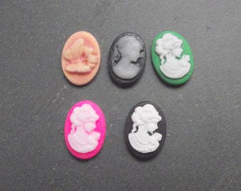 Set of 5 different 18 X 13 cameo resin cabochons