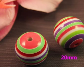 Pearl acrylic 20mm striped multicolor creating jewelry mod3