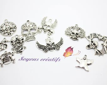 10 charms themed Halloween - SC03261 - silver Charms