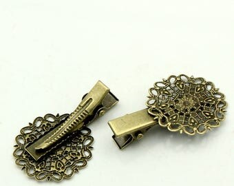 Set of 2 bronze Bobby pins round filigree 40x25mm - SC22547-flower