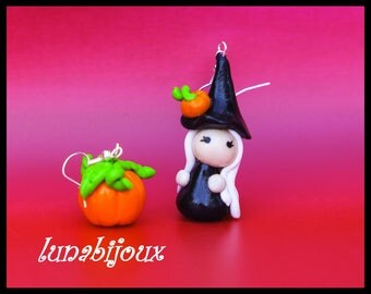 Witch and her pumpkin halloween polymer clay earrings black and orange