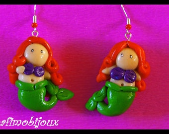 polymer clay fish, Mermaid gifts, mother's day earring