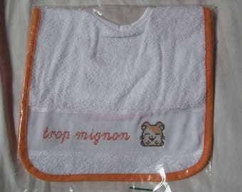 Hand embroidered orange baby bib