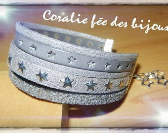 leather Cuff Bracelet sequins, leather pierced hearts, suede, glitter, starry suede. grey silver tones