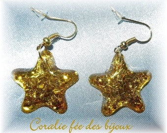 Earrings star resin glitter ideal gift Valentine's day