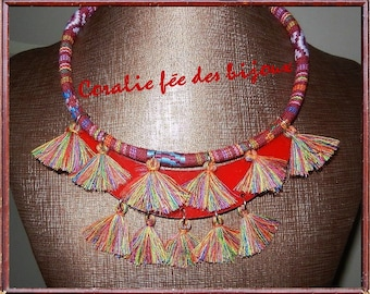 cord Cappadocia with bicycle necklace, bib and tassel