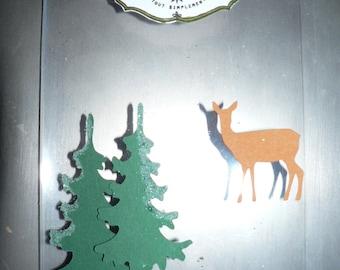 scrapbooking transparent reindeer and Christmas tree card