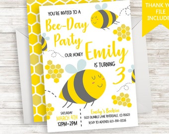 Bee Birthday Invitation Invite Digital Kids Girls Boys Yellow HoneyComb 5x7 Back Side File ANY AGE