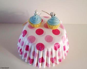 Blue Mint cupcake earrings