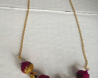 diy Green gold necklace Fuchsia glitter and studs/necklace
